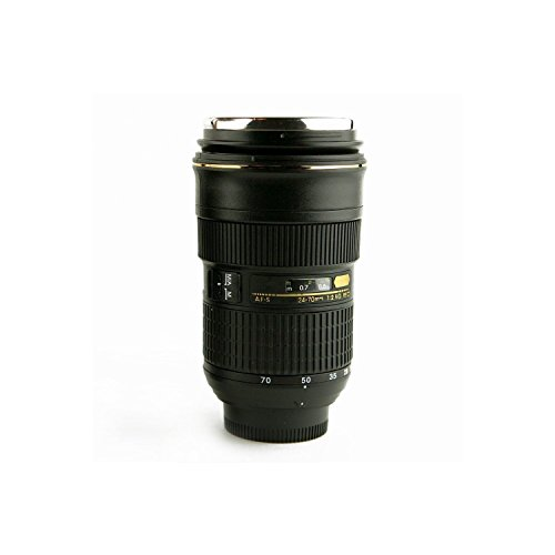 Dealinfinite Camera Lens Replica Cup Nikon Style Slr Af-S Nikkor 24-70Mm F/2.8G Ed Lens Model Collector Coffee Tea Travel Mug Black