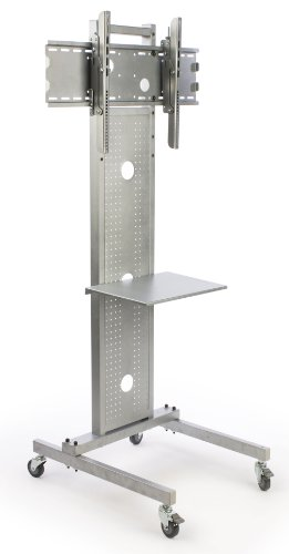 Displays2Go Lcdslv70H Floor Tv Stand With Metal Shelf For A 32-42 Inch Plasma Or Lcd Monitor - Silver