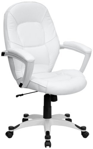 Flash Furniture QD-5058M-WHITE-GG Mid-Back White Leather Executive Office Chair