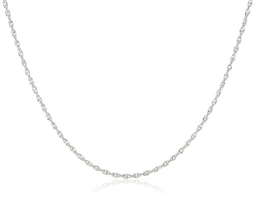 "Duragold 14k White Gold Solid Perfectina Chain Necklace (1.0mm), 18"": Jewelry"