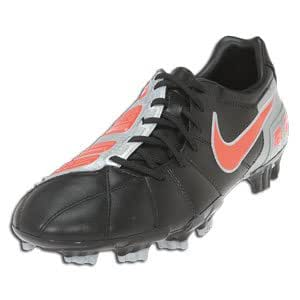 Nike Total90 Strike III Leather FG Mens Soccer Cleats Black/Challenge Red-Metallic Silver Mens Shoes 385405-061-10.5
