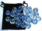 Blue Swirling Glass Rune Set