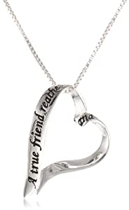 "Sterling Silver Ribbon Heart ""A True Friend Reaches For Your Hand and Touches Your Heart"" Pendant Necklace, 18"""
