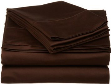 Luxury Olympic Queen Size Solid Chocolate 800 Thread Count Sheet Set, 100% Egyptian Cotton. front-1032263