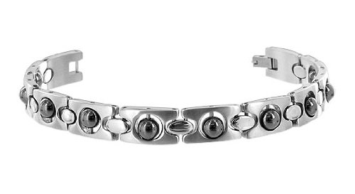 Stainless Steel Magnetic Bracelet 8.25″ with Fold Over Clasp 6 MM Hematite Beads