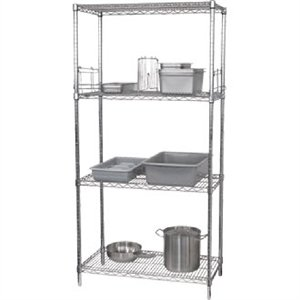 4 Tier Wire Shelving Kit 1830x 610mm - Commercial Kitchen Restaurant Bar Pub Cafe Food Storage Shelf Shelving Unit
