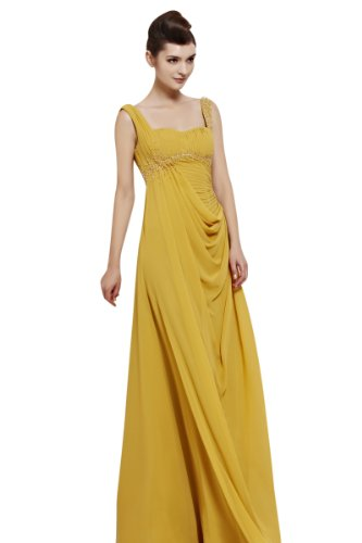 CharliesBridal Sweetheart Backless Floor Length Evening Dress - XL - Yellow