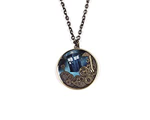 Doctor Who Tardis and Gears Burnished Gold Necklace