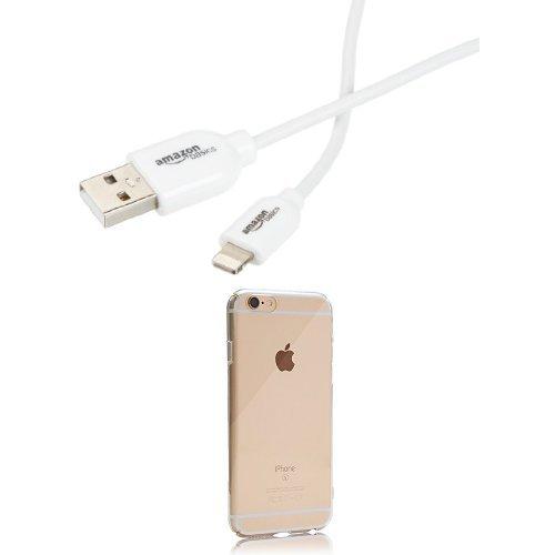 レイ・アウト iPhone 6/6s プレミアムハードケース クリア  Amazonベーシック Apple認証 (Made for iPhone取得) iPhone5/6/6PLUS/iPad Air/iPad mini/iPod用 ライトニングUSB充電ケーブル 約90cm セット