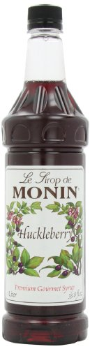 Monin Flavored Syrup, Huckleberry, 33.8-Ounce Plastic Bottles (Pack of 4)