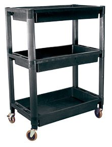 Plastic Utility Cart With Three Shelves & Two Locking Wheels