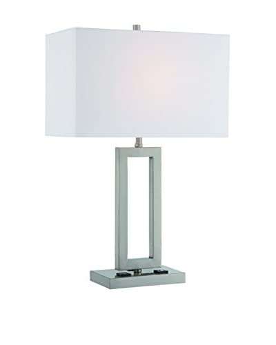 Lite Source Fiadi 1-Light Table Lamp, Polished Steel/White