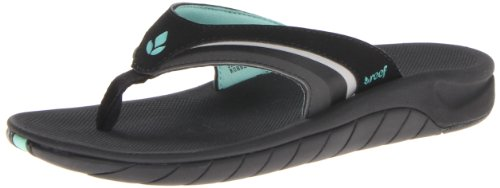 Reef Women's Slap 3 Flip Flop,Black/Black/Aqua,7 M US