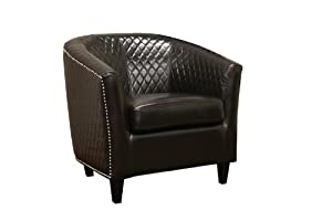 Baxton Studio Elenette Black-Brown Faux Leather Club Chair