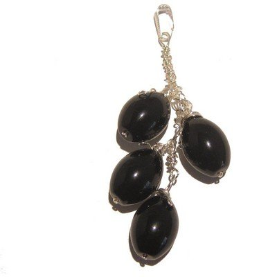 Obsidian Pendant 04 Crystal Black Silver Wire Wrap Puff Oval Stone Protection 3