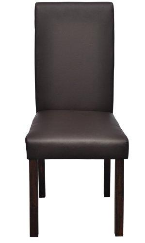 4 sedie classiche in legno e ecopelle marroni per salotto - Sedie in ecopelle per cucina ...