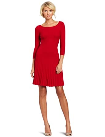 BCBGMAXAZRIA Women's Cable Dress With Ribbing, Rio Red, X-Small
