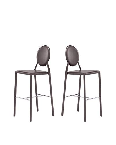 Zuo Modern Set of 2 Ville Marie Bar Chair, Espresso