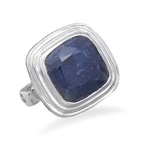 Sterling Silver Square Faceted Rough-Cut Sapphire Ring / Size 9