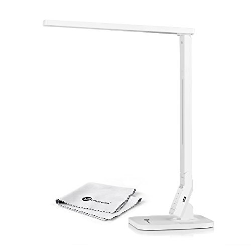 TaoTronics® Elune TT-DL02 Dimmable LED Desk Lamp (Piano White, 4 Lighting Modes: Reading/Studying/Relaxation/Bedtime, 5-Level Dimmer, Touch-Sensitive Control Panel, 1-Hour Auto Timer, 5V/1A USB Charging Port)