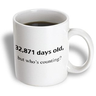 3Drose 32871 Days Old But Whose Counting Happy 90Th Birthday Ceramic Mug, 15-Ounce