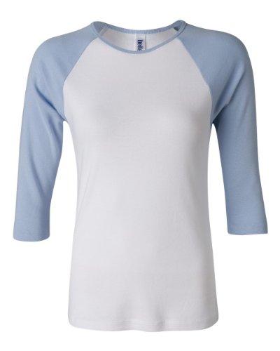 Bella Ladies' Cotton 3/4 Contrast Raglan Sleeve Rib Tee in White/Baby Blue - Large