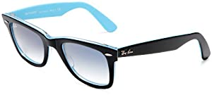 Ray Ban RB2140 Original Wayfarer Sunglasses 50 mm,Top Black On Transp Azure frame/Crystal Gradient Light Blue lens