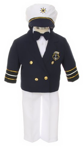 Stylish Nautical Classic Sailor Captains Dress Suit, Toddler Boys-Navy/White-2T