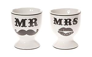 Black & WHite Mr & Mrs Egg Cups Wedding Gift Present
