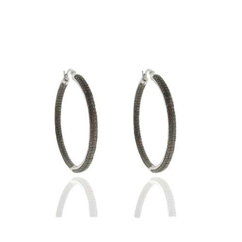 Silver Overlay Black Diamond Accent Hoop Earrings
