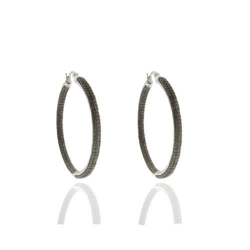 Silver Overlay Black Diamond Accent Hoop Earrings