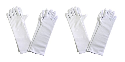 Girls-Tea-Party-Stretch-Polyester-Long-Dress-Gloves-Set-of-4-White-Childrens