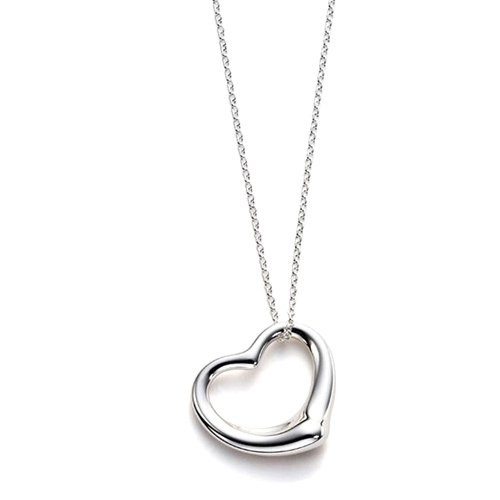 Accessotech Silver Plated Open Love Heart Pendant & Chain Necklace in Gift Bag Solid