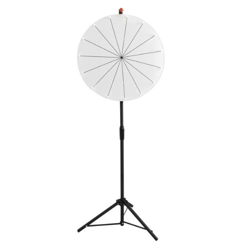 Professional 24 Inch Diameter Round Spin Board White Dry Erase Clicker Prize Wheel 15-Slot With Ht. Adjustable Tripod Heavy Duty For Home Office Fair B-Day Wed Party