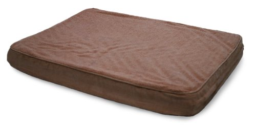 Furhaven Pet Nap Terry And Suede Deluxe 27-Inch By 36-Inch Orthopedic Pet Bed, Large, Espresso front-553972