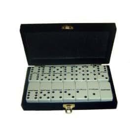 Domino Double 6 White Tiles Jumbo Tournament Size w/Spinners