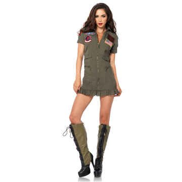 Top Gun Women's Flight Dress Costume - Large - Dress Size 12-14