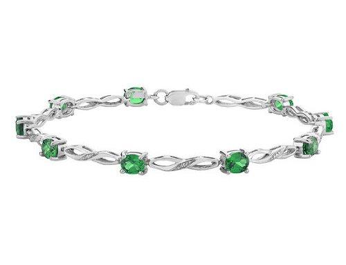 Emerald Infinity Bracelet 3.0 Carat (ctw)  Diamonds