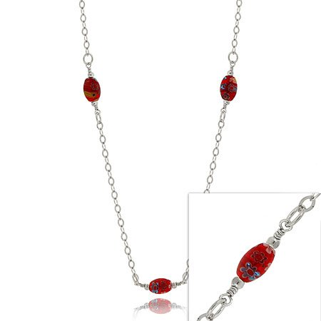 Silver .925 MURANO GLASS BEAD Millefiori NECKLACE 20