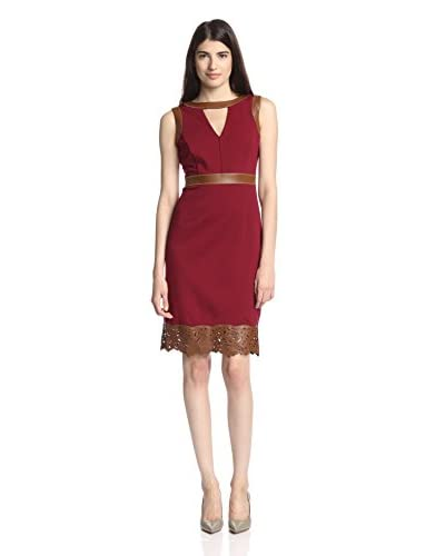 Nue by Shani Women's Knit Dress with Faux Leather Details