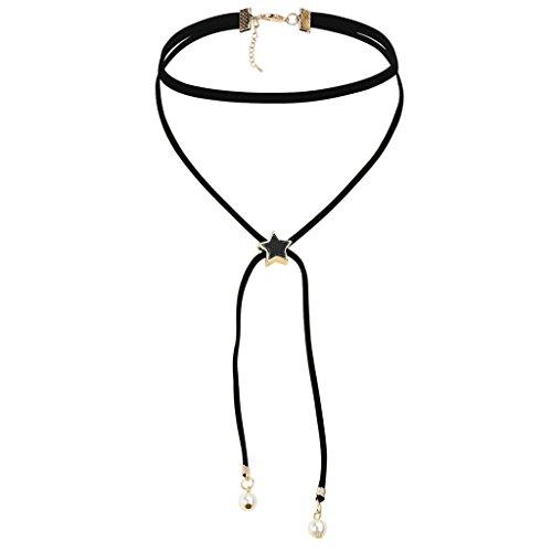 Gnzoe Donna Choker Girocollo Collane Adjutable, Velluto Raddoppiare Collare Perla Stella Forma Choker Per Ragazze Oro Nero con Perla, 34+5CM