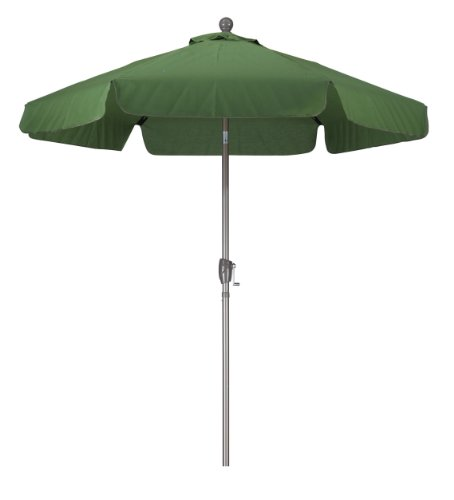 California Umbrella 7-1/2-Feet Wind Resistance Fiberglass Market Push Button Umbrella with 3-Way Tilt, Palm Green