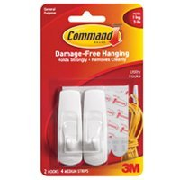 3M Reusable Adhesive Hooks, Med, Holds 3 Lb., 2/Pack, White