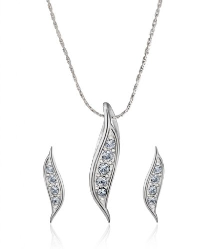 Eclat Rhodium Brass Alloy Pendant Set For Women(513164R)