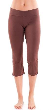 Fine Brand Shop Ladies Brown Capri Yoga Pants 3/4 Length - Small
