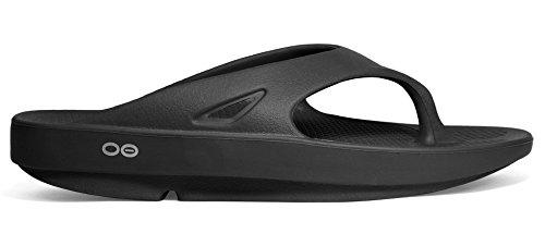 3802e78e15eb Oofos Original Unisex Black Thong Sandal (Includes FREE RED RUBBER FOOT  MASSAGER) (Men