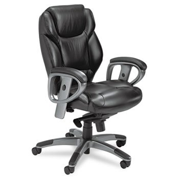 Ultimo 300 Series Mid-Back Synchro Tilt Chair, Black Leather by MAYLINE (Catalog Category: Furniture & Accessories / Chairs)