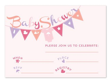 Pink Baby Banner Fill-In Invitations front-116338