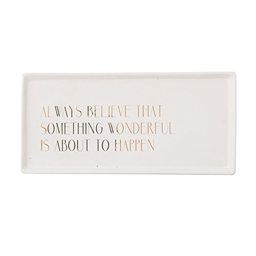 Bloomingville White and Gold Always Believe Ceramic Tray, Multicolor (Ceramic Tray compare prices)
