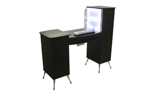 Manikre-Tresen-Manikretisch-mit-Absaugung-LED-beleuchteter-Kleinkramablage-Farbe-schwarz